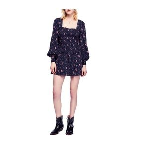 Free People Two Faces Print Black Mini Dress Large